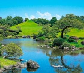 画像:7-8月写真 水前寺成趣園(熊本) 四季の庭 2020年カレンダー