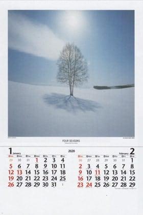 画像:白い丘の木(北海道・美瑛町) 四季(前田真三・前田晃)(フィルムカレンダー) 2020年カレンダー