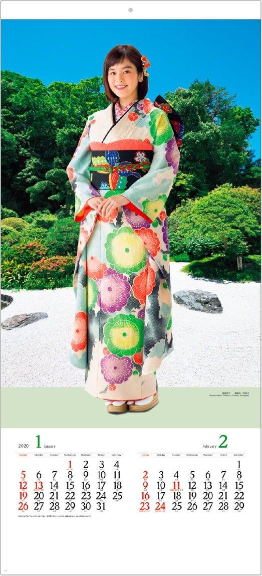 画像:筧美和子 護国寺(神奈川) 女優・すがた 2020年カレンダー