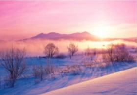 画像:12月 大雪山(北海道) 輝く太陽 2020年カレンダー