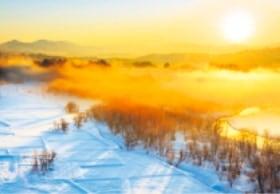 画像:2月 信濃川(新潟) 輝く太陽 2020年カレンダー