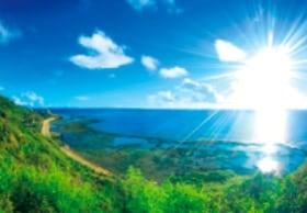 画像:8月 知念岬(沖縄) 輝く太陽 2020年カレンダー