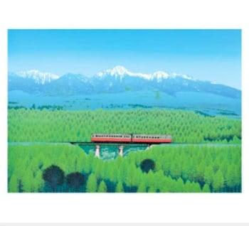 画像:7-8月 八ヶ岳 山麓樹林 小暮真望版画集 2020年カレンダー