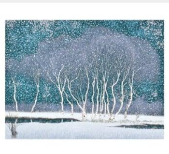 画像:11-12月 拠水林の四季(冬) 小暮真望版画集 2020年カレンダー