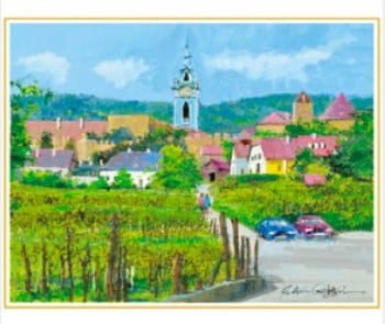 画像:1-2月 ウィーン郊外の村(オーストリア) 欧羅巴を描く 小田切訓 2020年カレンダー