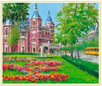 画像:3-4月 市民劇場の通り(オランダ) 欧羅巴を描く 小田切訓 2020年カレンダー