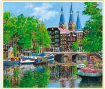 画像:5-6月 教会のある運河 (オランダ) 欧羅巴を描く 小田切訓 2020年カレンダー