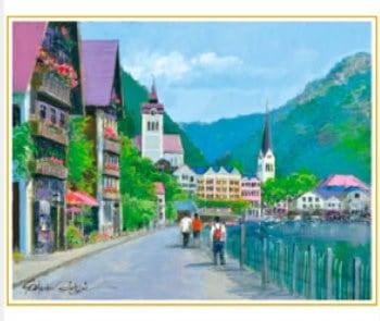 画像:7-8月 ハルシュタット湖畔の道(オーストリア) 欧羅巴を描く 小田切訓 2020年カレンダー