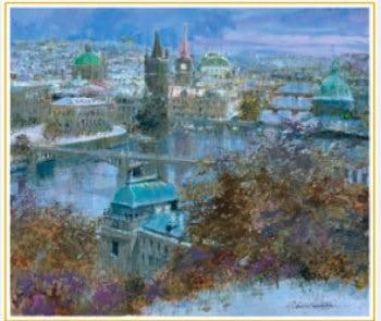 画像:11-12月 雪のプラハ(チェコ) 欧羅巴を描く 小田切訓 2020年カレンダー