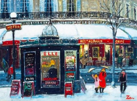 画像:1-2月 新年の雪 Love Paris・田中善明作品集 2020年カレンダー