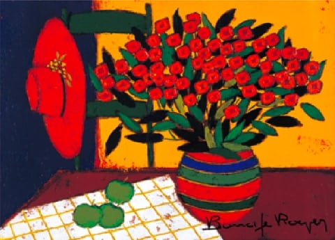 画像:1-2月 陶器とリンゴと帽子 ロジェ・ボナフェ作品集 2020年カレンダー