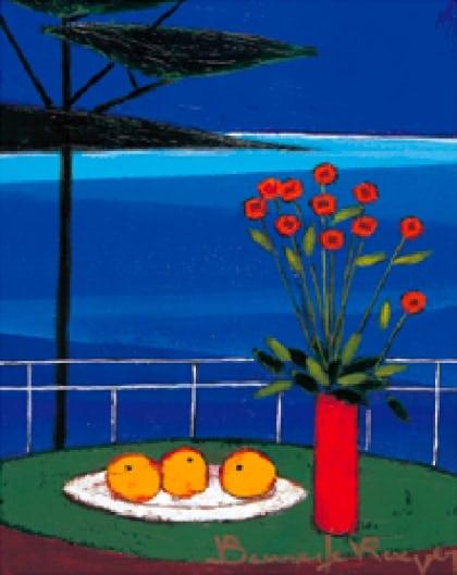画像:7-8月 地中海、オレンジ、ブーケ ロジェ・ボナフェ作品集 2020年カレンダー