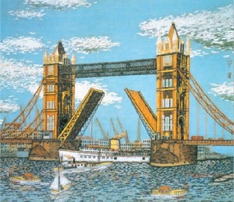 画像:1-2月 ロンドンのタワーブリッジ 山下清作品集 2020年カレンダー