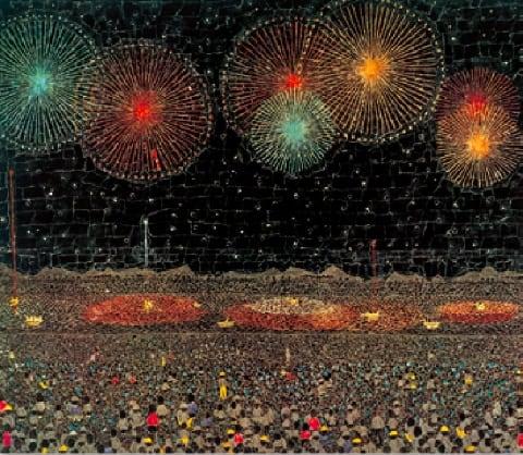 画像:7-8月 長岡の花火 山下清作品集 2020年カレンダー