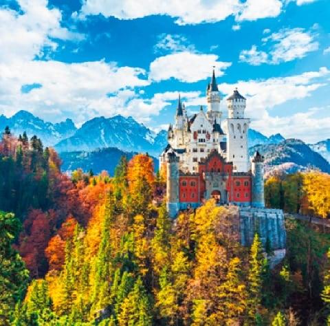 画像:9-10月 ノイシュバンシュタイン城(ドイツ) ワイドヨーロッパ(フィルムカレンダー) 2020年カレンダー