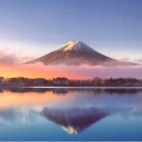 画像:1-2月 河口湖と富士山(山梨) 美しい水辺(フィルムカレンダー) 2020年カレンダー