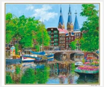 画像:5-6月 教会のある運河(オランダ) ヨーロッパの印象 小田切訓(フィルムカレンダー) 2020年カレンダー