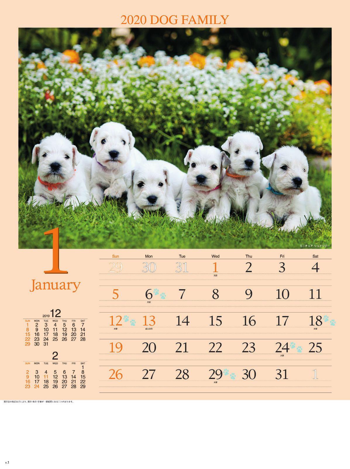画像:ミニチュア・シュナウザー ドッグファミリー 2020年カレンダー