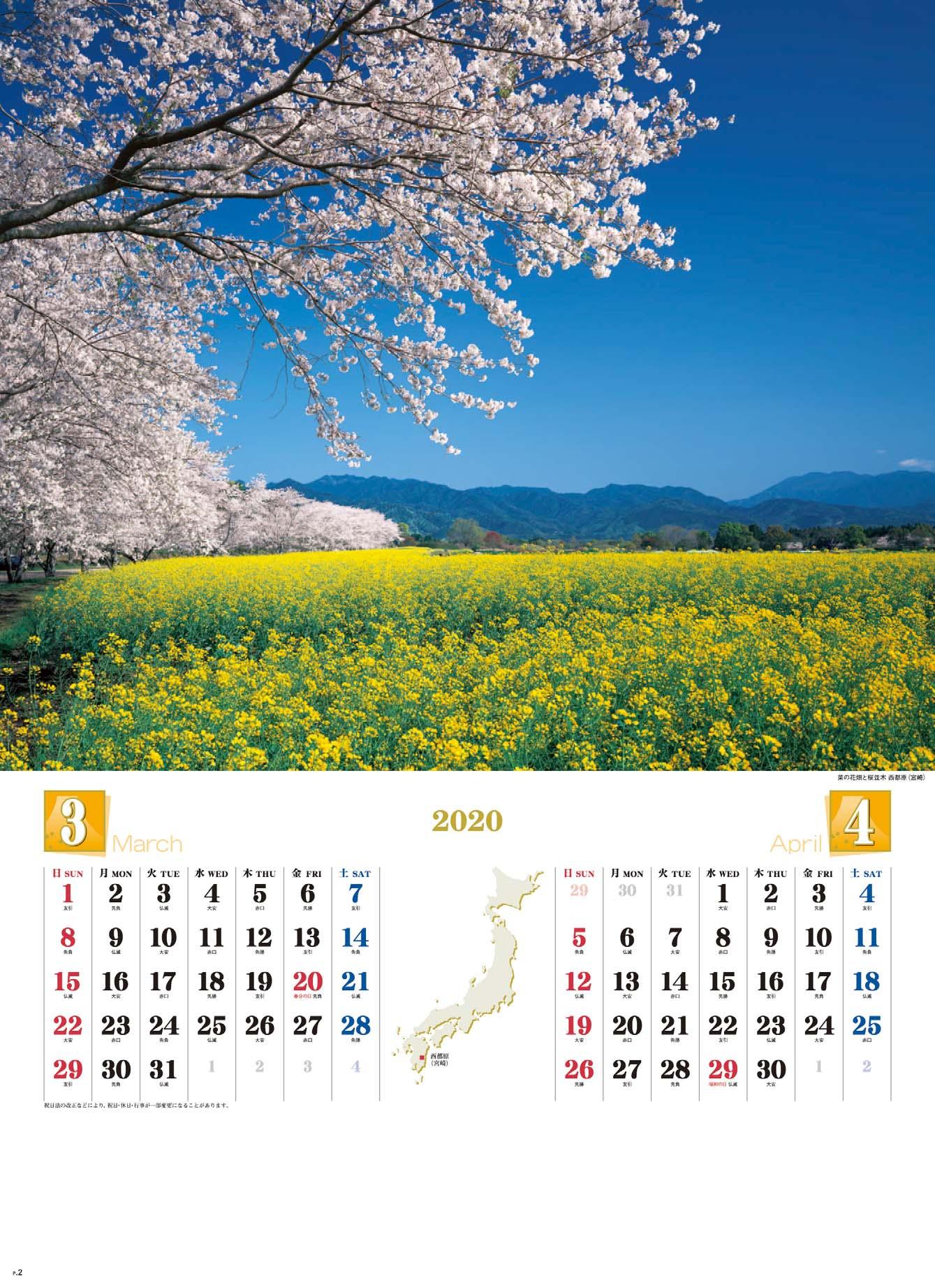 画像:菜の花畑と桜並木 西都原(宮崎) 四季彩峰 2020年カレンダー