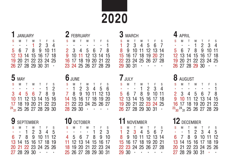 画像:12月裏面 デスクスタンド・文字 2020年カレンダー