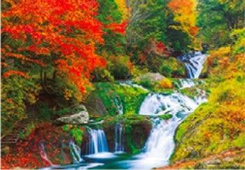 画像:10月 横谷峡 おしどり隠しの滝(長野) 天地自然・森田敏隆写真集 2020年カレンダー