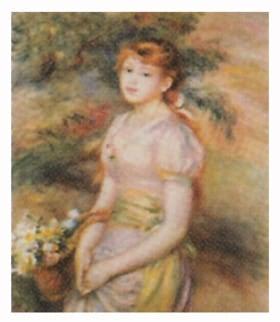 画像:1-2月 花籠を持った少女 ルノワール 2020年カレンダー
