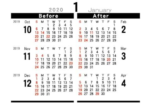 画像:裏面 デザインデスク 2020年カレンダー