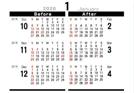 画像:裏面 シンプルデザインデスク 2020年カレンダー