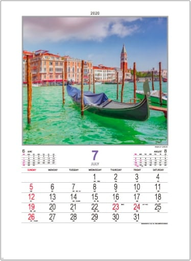 画像:ヴェネツィア(イタリア) ファンタジーワールド(B) 2020年カレンダー