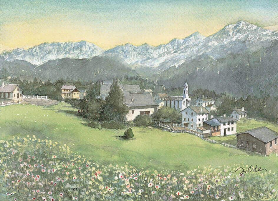 3-4月 グリンデルワルト スイス ヨーロッパ散歩道 織田義郎 2022年カレンダーの画像
