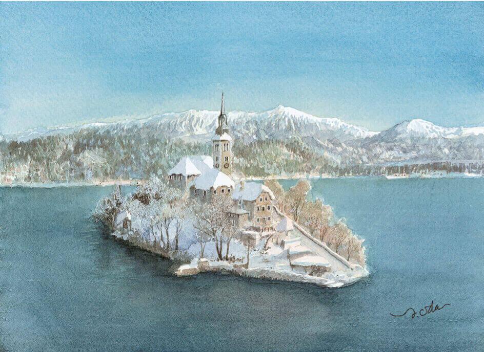 11-12月 ブレッド湖 スロベニア ヨーロッパ散歩道 織田義郎 2022年カレンダーの画像