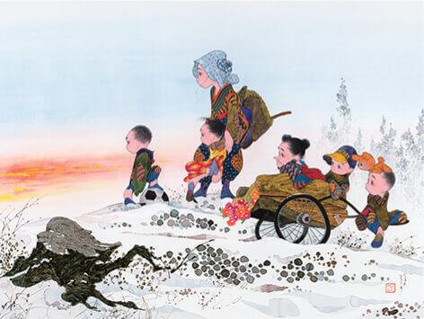 11-12月 峠の夕日 風の詩・中島潔作品集 2022年カレンダーの画像