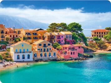 7-8月 ケファロニア島 ギリシャ 世界のかわいい街と家 2022年カレンダーの画像