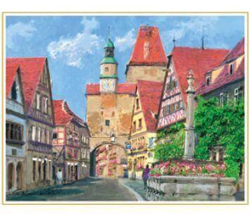 1-2月 ローテンブルクの門 ドイツ 欧羅巴を描く 小田切訓 2022年カレンダーの画像