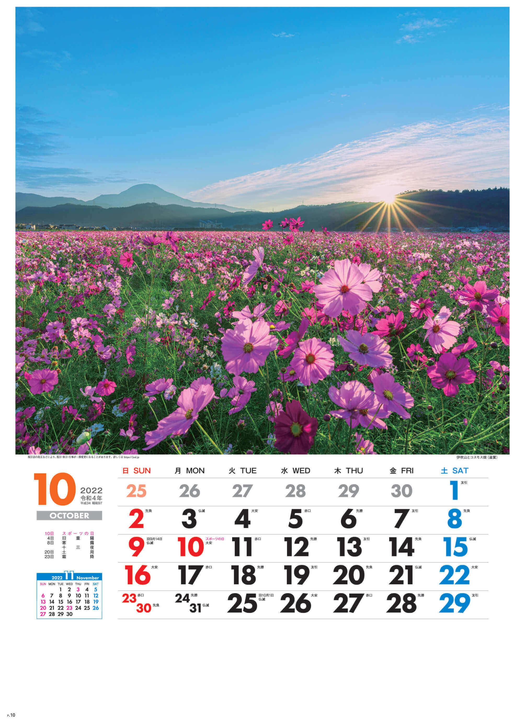 10月 伊吹山とコスモス畑(滋賀) 美しき日本 2022年カレンダーの画像